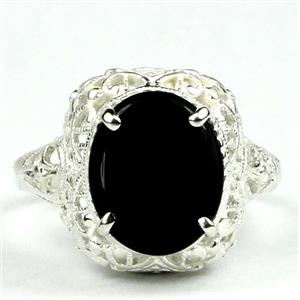 SR009, Black Onyx, 925 Sterling Silver Antique Style Filigree Ring