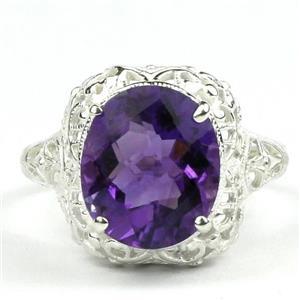 SR009, Amethyst, 925 Sterling Silver Antique Style Filigree Ring
