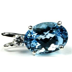 SP019, Swiss Blue Topaz 925 Sterling Silver Pendant