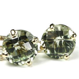 E117, Green Amethyst 14k Gold Earrings