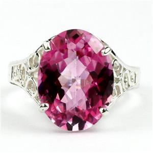SR049, Pure Pink Topaz, 925 Sterling Silver Ring