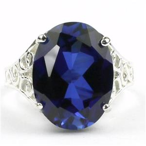 SR049, Created Blue Sapphire, 925 Sterling Silver Ring