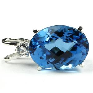 SP085, Swiss Blue Topaz, 925 Sterling Silver Pendant