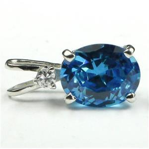 Swiss Blue CZ, 925 Sterling Silver Pendant, SP021
