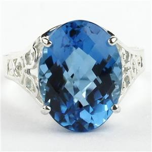 SR049, Swiss Blue Topaz, 925 Sterling Silver Ring