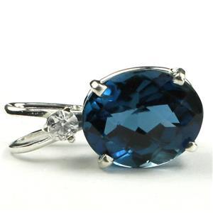 SP020, London Blue Topaz, 925 Sterling Silver Pendant