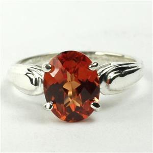 SR058, Created Padparadsha Sapphire, 925 Silver Ring