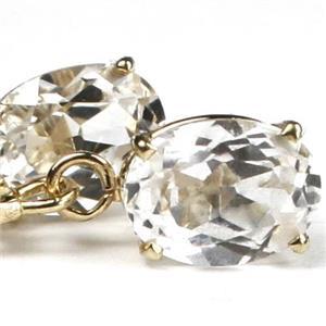 E007, Cubic Zirconia, 14k Gold Earrings