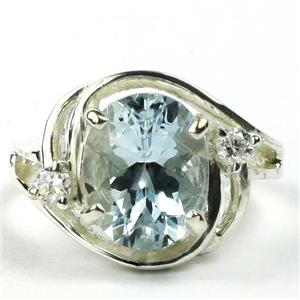 SR021, Aquamarine, 925 Sterling Silver Ring