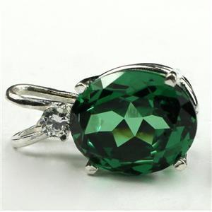 SP022, Russian Nanocrystal Emerald, 925 Sterling Silver Pendant