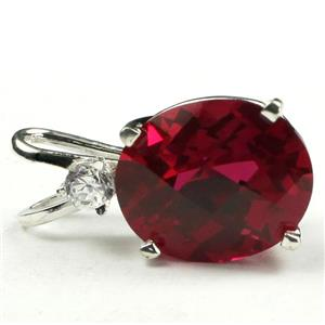 SP022, Created Ruby 925 Sterling Silver Pendant