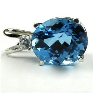 SP022, Swiss Blue Topaz 925 Sterling Silver Pendant