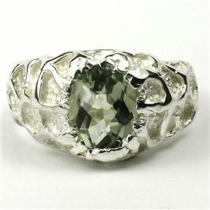 SR168, Green Amethyst (Prasiolite), 925 Sterling Silver Men's Nugget Ring