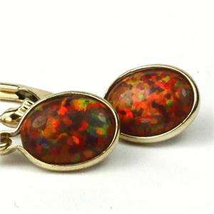 E001, Created Red/Brown Opal, 14k Gold Earrings