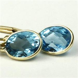 E001, Swiss Blue Topaz, 14k Gold Earrings