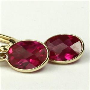 E001, Created Ruby, 14k Gold Earrings