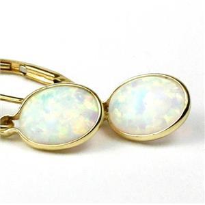 E001, Created White Opal, 14k Gold Earrings