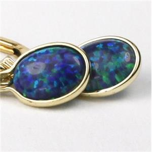 E001, Created Blue/Green Opal, 14k Gold Earrings