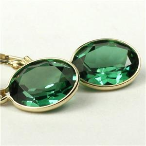 E101,  Russian Nanocrystal Emerald, 14k Gold Leverback Earrings