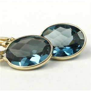 E101, London Blue Topaz, 14k Gold Earrings