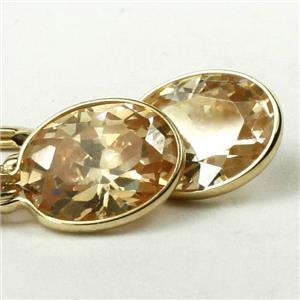 E101, Champagne CZ 14k Gold Earrings, 6 cts