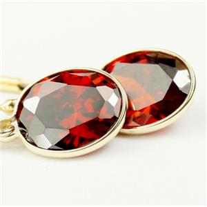 E101, Garnet CZ 14k Gold Earrings, 6 cts