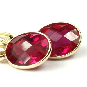 E101, Created Ruby, 14k Gold Earrings