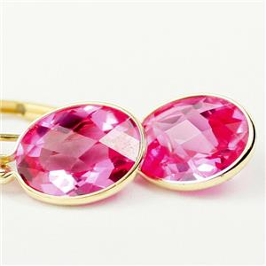 E101, Created Pink Sapphire, 14k Gold Earrings