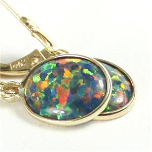 E101, Created Black Opal, 14k Gold Leverback Earrings