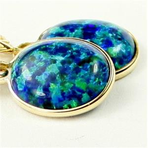 E101, Created Blue/Green Opal, 14k Gold Earrings