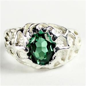 SR168, Russian Nanocrystal Emerald,925 Sterling Silver Men's Nugget Ring