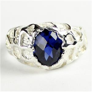 SR168, Created Blue Sapphire, 925 Sterling Silver Men's Nugget Ring