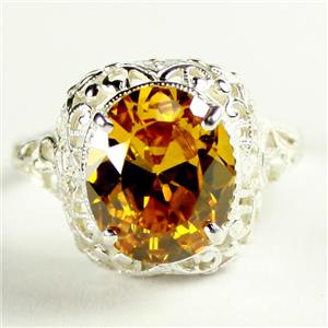 SR009, Golden Yellow CZ, 925 Sterling Silver Antique Style Filigree Ring