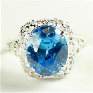 SR009,  Swiss Blue CZ, 925 Sterling Silver Antique Style Filigree Ring