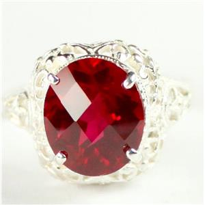 SR009,  Created Ruby, 925 Sterling Silver Antique Style Filigree Ring