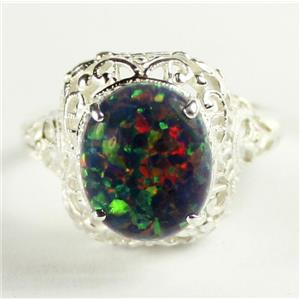 SR009, Created Black Opal, 925 Sterling Silver Antique Style Filigree Ring