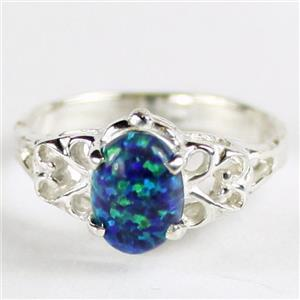 SR302, Created Blue Green Opal, 925 Sterling Silver Ring