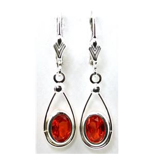 SE008, Created Padparadsha Sapphire 925 Silver Earrings