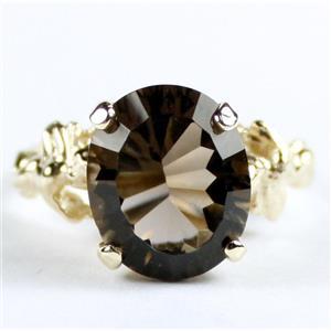 R154, Smoky Quartz (Quantum Cut), Gold Angel Ring
