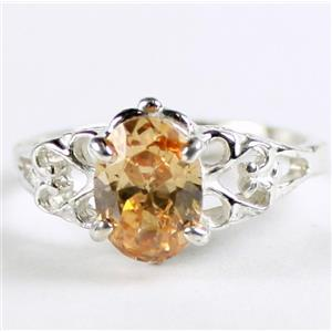 SR302, Champagne Cubic Zirconia, 925 Sterling Silver Ring