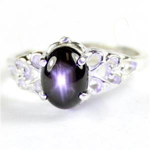 SR302, Black Star Sapphire, 925 Sterling Silver Ladies Ring