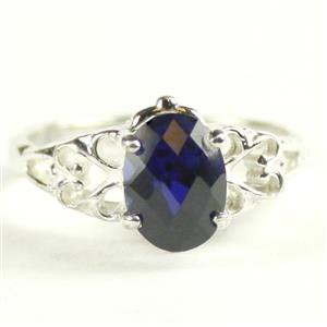 SR302, Created Blue Sapphire, 925 Sterling Silver Ring