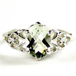 SR302, Green Amethyst (Prasiolite), 925 Sterling Silver Ring