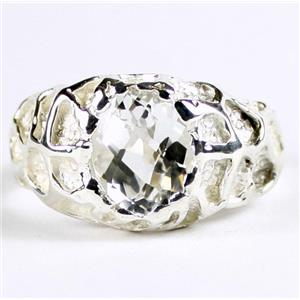 SR168, Silver Topaz, 925 Sterling Silver Men's Nugget Ring