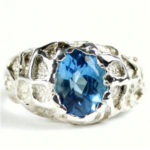 SR168, Swiss Blue Topaz, 925 Sterling Silver Men's Nugget Ring