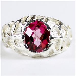 SR168, Pure Pink Topaz, 925 Sterling Silver Men's Nugget Ring