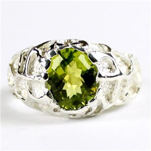 SR168, Peridot, (25 Sterling Silver Men's Nugget Ring