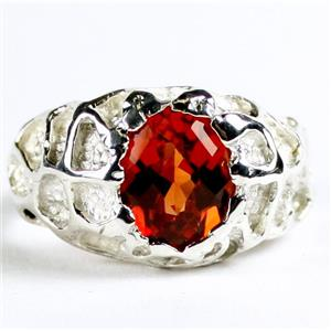 SR168, Created Padparadsha Sapphire, 925 Sterling Silver Men's Nugget Ring