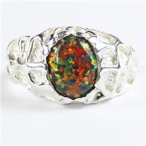 SR168, Created Black Opal, 925 Sterling Silver Men's Nugget Ring