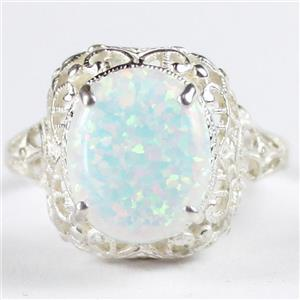 SR009, Created White Opal, 925 Sterling Silver Antique Style Filigree Ring